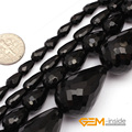"Drop Faceted AA Grade Black Agate Beads Natural Stone Bead DIY Bead For Fashion Jewelry Making Strand 15"" Wholesale !"