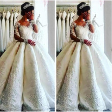 SexeMara Modest Bridal Gowns With Long Sleeves Ball Gowns