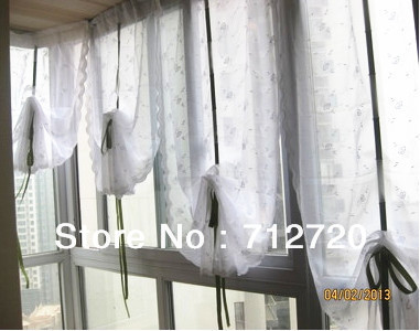 ... 85x180cm Draw String Embroidered Retractable Curtains/ Lovely Lace  Curtain / Wedding Drapery ,5 Colors