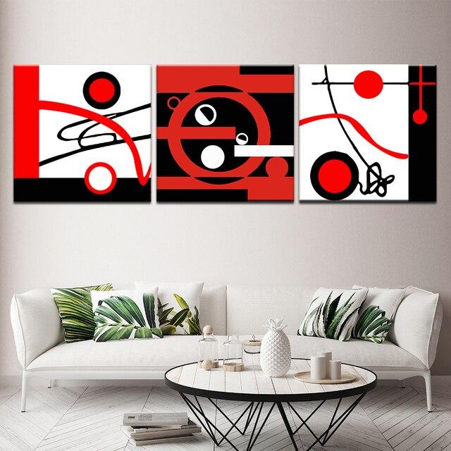 Peinture abstraite de tableau rouge et blanc noir   Affiche murale moderne modulaire à 3 panneaux, toile de peinture nordique pour décoration de la maison du salon