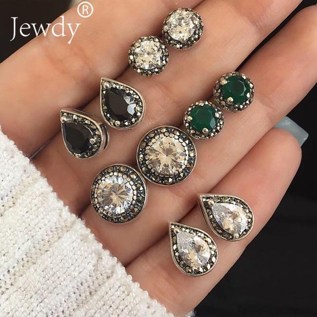 4 Pairs/Set Women Crystal Bohemian Earring Stud Earrings for Women Boucle D'oreille Jewelry Dazzling Cubic Zirconia Opal Brincos 4