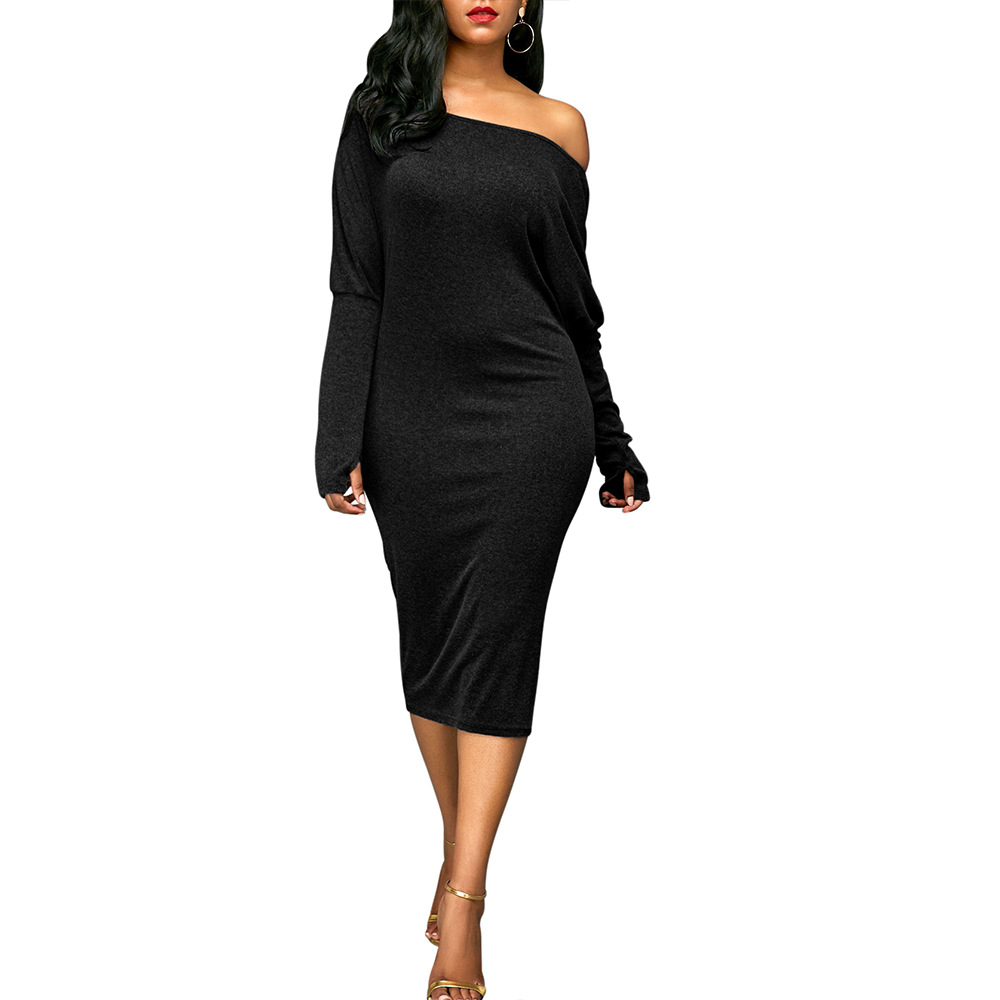 NEW Fashion Midi Dress Black Friday Deals Dress Evening New Year Women Sexy Bodycon Dress One Shoulder Long Sleeve Pencil Female