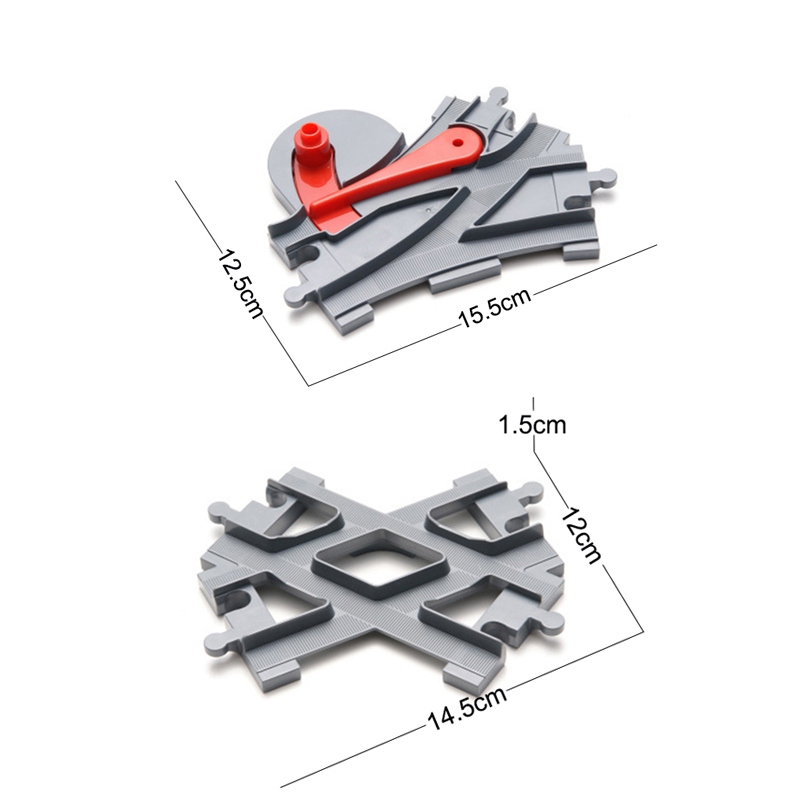 4Pcsset Big Size Train Track Blocks Track Crossover Parts Railway Compatible Duploe Building Bricks Toys for Children (4)