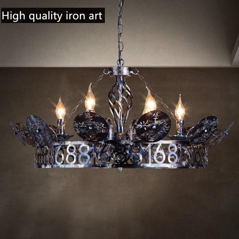 IWHD Корона железа ретро лампа Винтаж промышленное освещение повесить фонари круглый светодиодный подвесные светильники творческий 6 голово