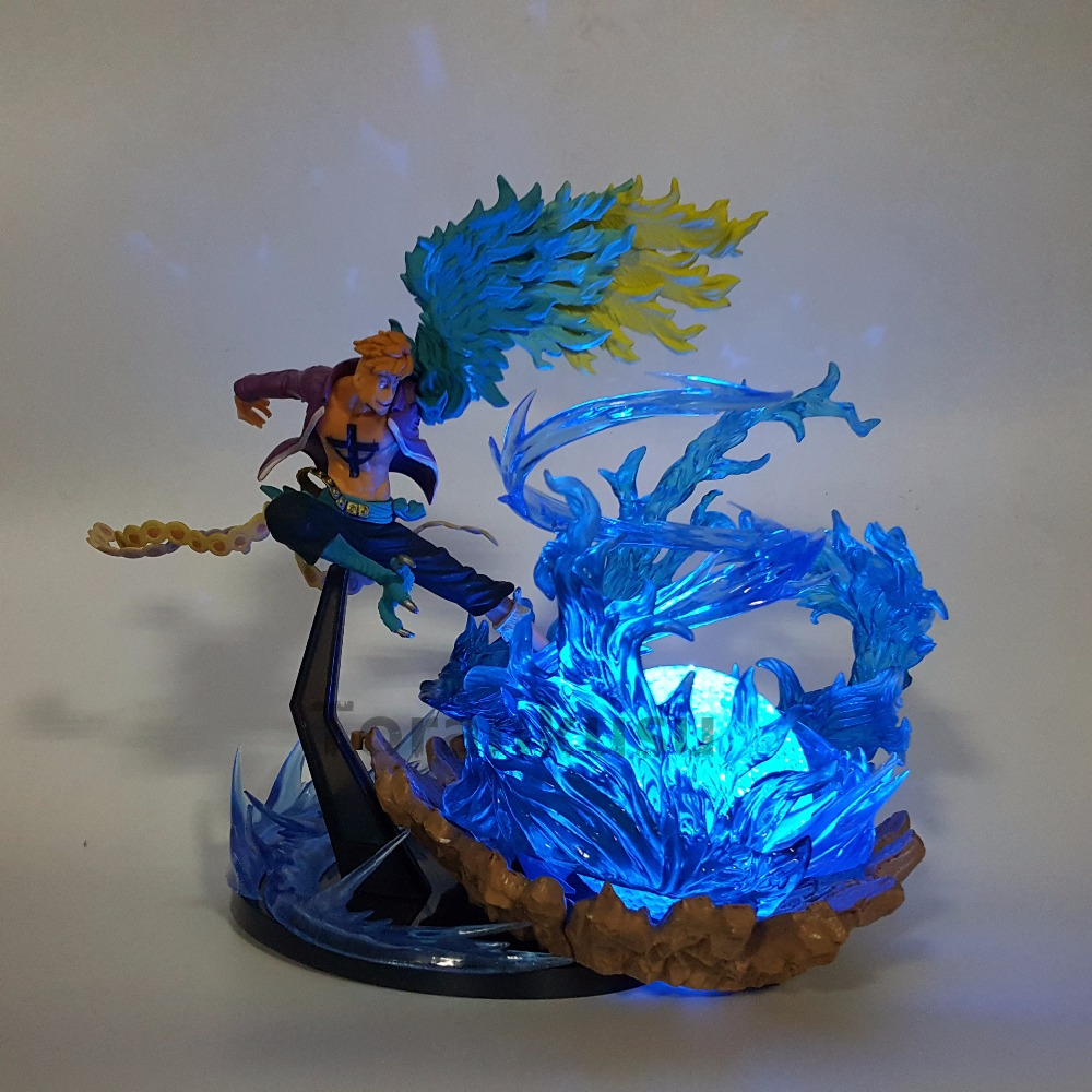 Blue Lighting Effect PVC Doll Stand Support Holder for One Piece Figure Toy