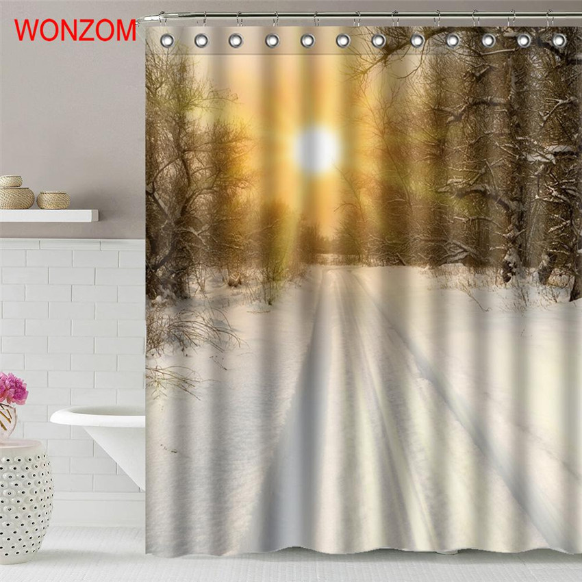 Aliexpress Buy WONZOM Autumn Leaves Shower Curtains With 12 Hooks For Bathroom Decor Modern Landscape Bath Waterproof Curtain Gift From Reliable