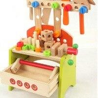ของเล่นเด็กเด็กไม้ถอดมัลติฟังก์ชั่ชุดเครื่องมือบำรุงรักษาไม้ของเล่นเด็กคริสมาสต์/ของขว...