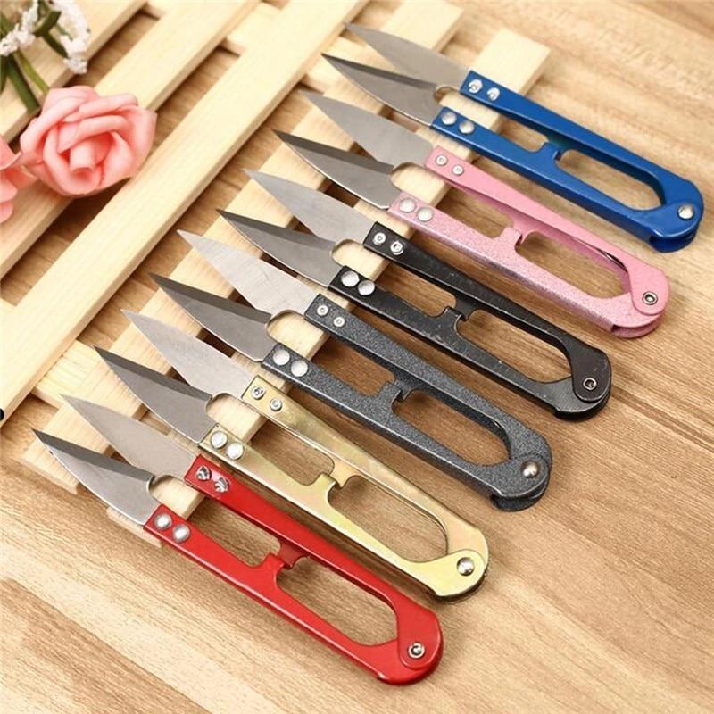 Fishing Sewing Scissors U-shaped Mini Scissors 1Pcs Sewing Scissors Tailor Scissors Snip Fishing Line Cutter Tools Random Color