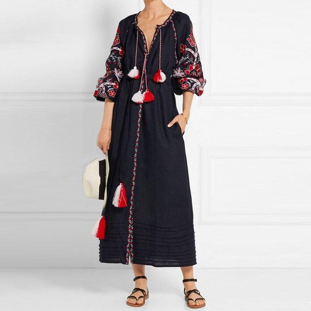 7d42f22f7 € 41.2 20% de DESCUENTO|2017 vestido de lino bordado V Masajeadores de  cuello borla Boho chic vestido vintage étnica Festival vestidos mujeres ...