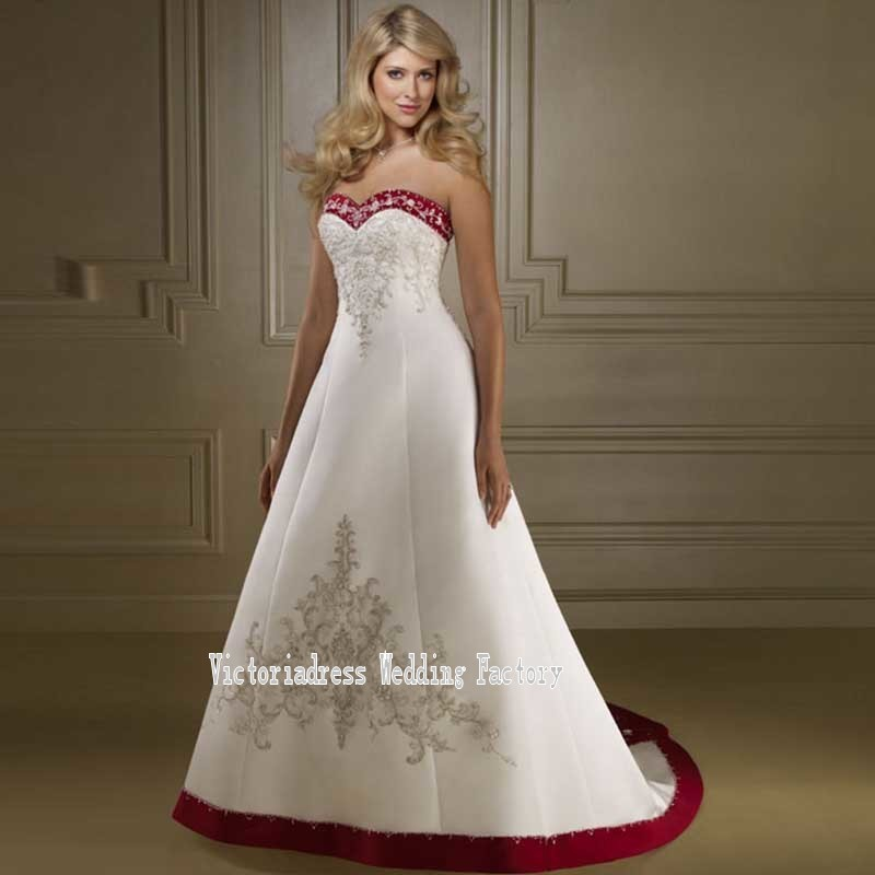 Victorian Gothic Red And White Wedding Dresses With Embroidery Sexy Open Back Halloween Plus Size Bridal Gown Vestido De Noiva