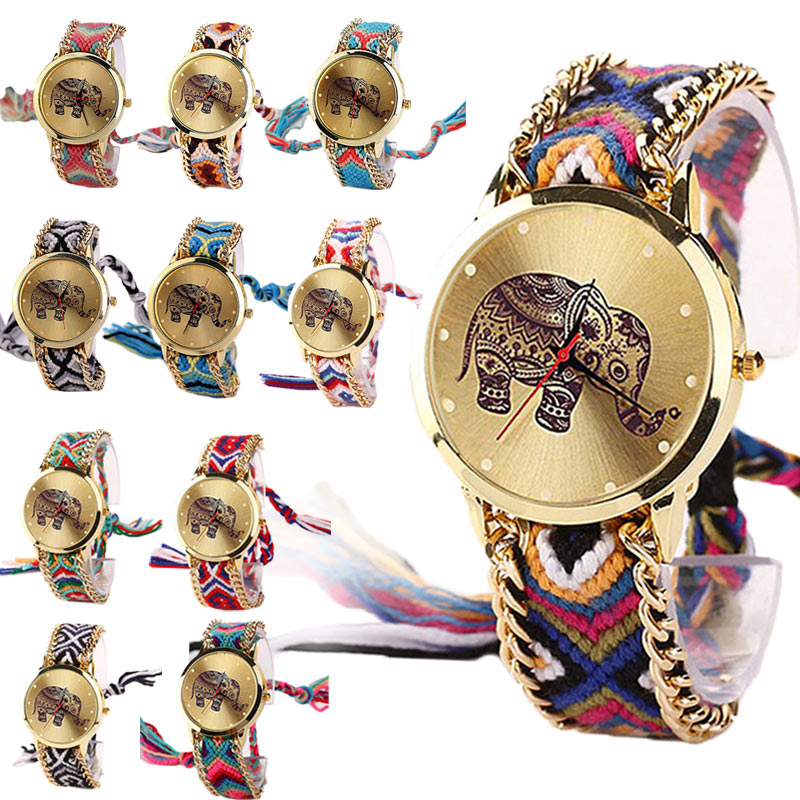 Fashion DIY Watch Lady Elephant Pattern Women Dress Watches National Weave Braid Bracelet Montre Femme Quartz Wrist Watch LL