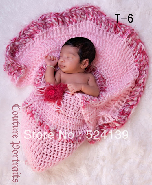 Free Shipping Baby Infant Handmade Crochet Sleeping Blanket Photo Photography Prop 0-12mouth ET-35