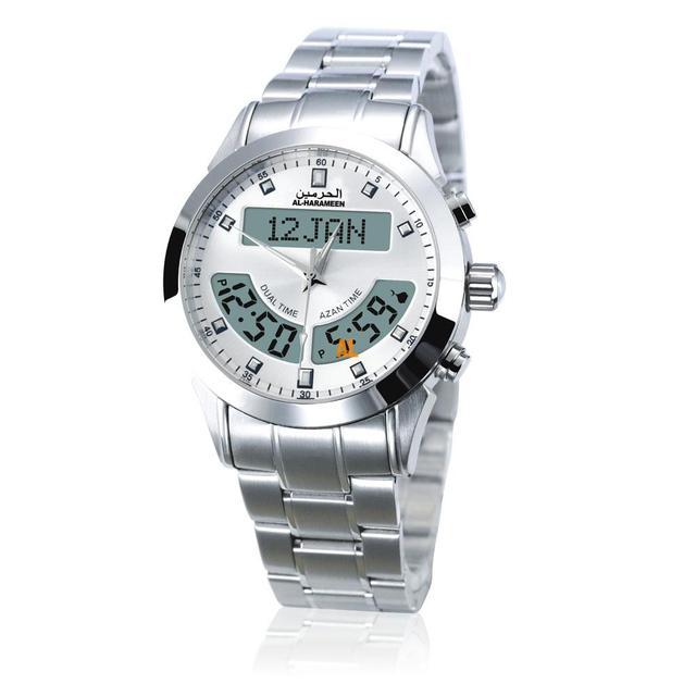 100% מקור חדש אזאן שעון האסלאמי Qibla Qatch עם שעון מצפן תפילה אסלאמיות הטובות ביותר מתנות, לבן חיוג