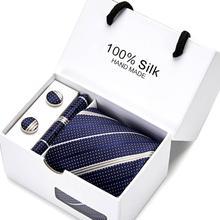 Gift box Tie Silk Purple Paisley Floral Ties for Men Set and Handkerchiefs Fashion Designer Business Wedding Mens