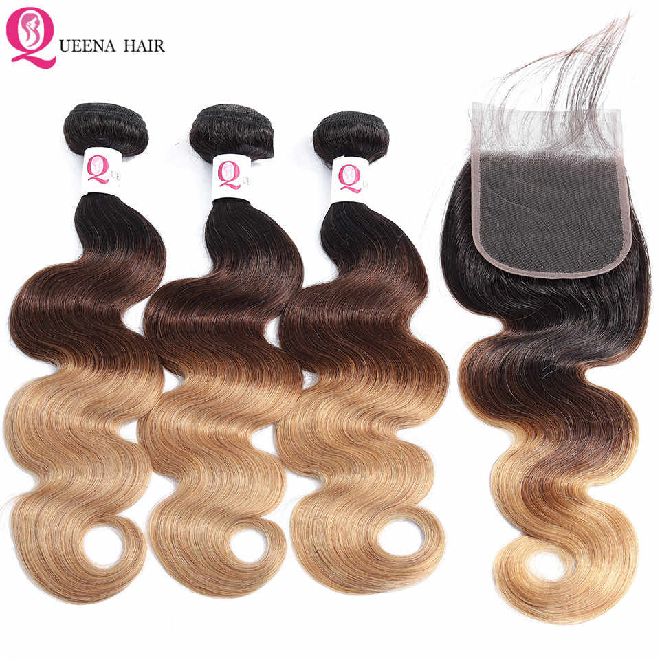 Ombre Cheap Hair Bundles With 4x4 Closure T1B/4/27 Brazilian Body Wave Human Hair Weave Bundles With Closure  Remy Wet And Wavy