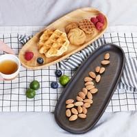 ZEN'S BAMBOO Tea Tray Leaf Shape Food Fruit Service Tray
