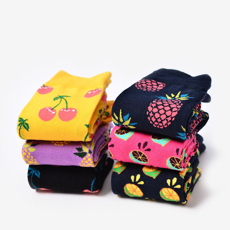 New Arrival 2017 Fashion   Socks   Women Cherry/Pineapple/Grapefruit Jacquard Unisex Crew Happy   Socks   Calcetines Women/Men