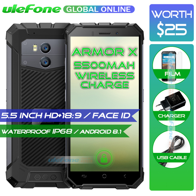 "Ulefone Armor X Waterproof IP68 Smartphone 5.5"" HD + 18:9 Quad Core Android 8.1 2GB+16GB 13MP NFC 5500mAh Wireless Charge Phone"