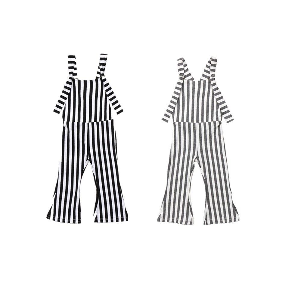 2017 Kinder Baby Mädchen Streifen Bell-bottom Bib Klammer Hosen Overalls Gestreiften Strampler Jumper Mode Weste Kleidung Outfits