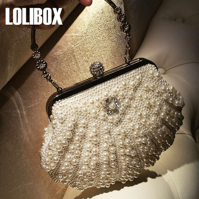 LOLIBOX Luxury Handbags Women Bags Designer Large Stitch Diamond Embroidery Pearl  Bag Metal Handle Dinner Bag Party Bride Bag