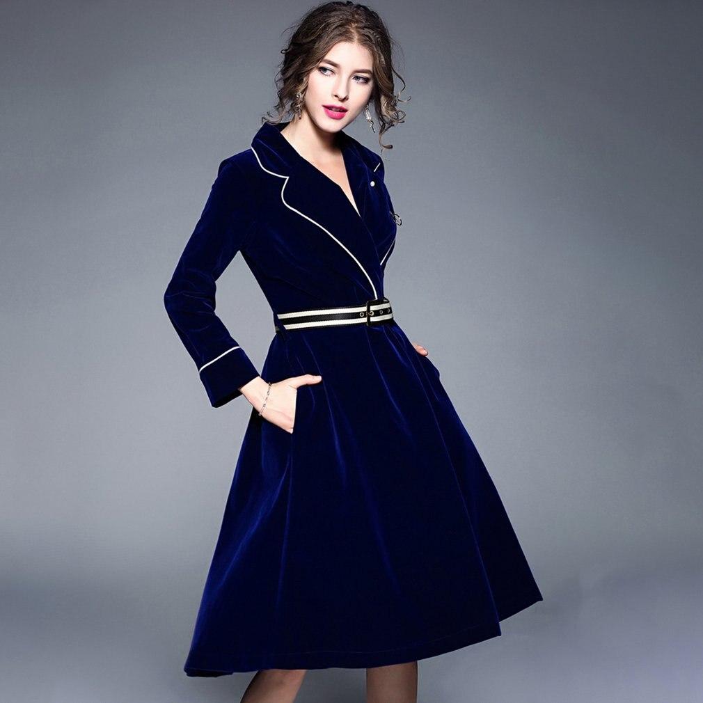 Best buy ) }}Women Autumn Winter Elegant Long Sleeve Long Skirt V-neck Slimming Skirts Female Mid-long Velvet Trench