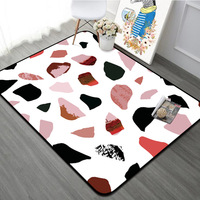 Modern Geometric Rug Living Room Carpet Home Decor Marble Pattern Anti Slip Rugs Thicken Rectangle Bedroom Rug Bed Side Floormat