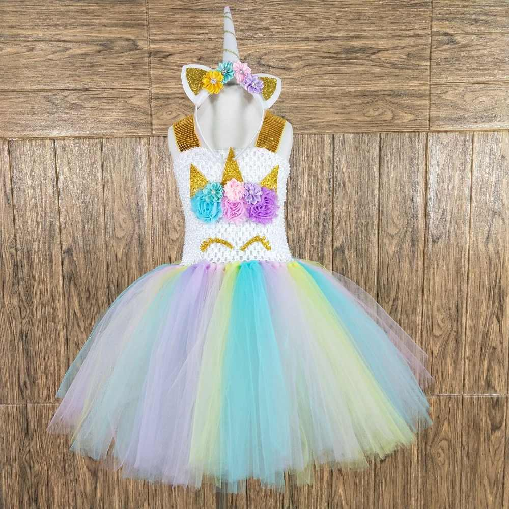 9425751b6b5 ... POSH DREAM Kids Girl Unicorn Dress for Cosplay Party Easter Color 1st Birthday  Party Tutu Dresses ...