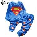 Baby boy hero Супермена костюм досуг костюм детей новорожденных девочек с длинными рукавами Футболки + брюки набор Бесплатная доставка мультфильм