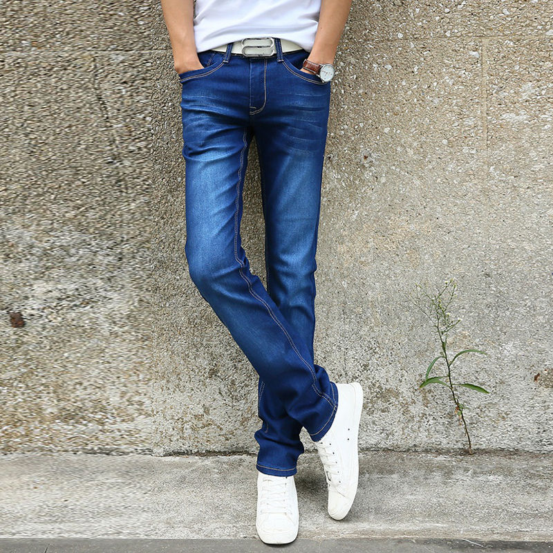 Image 2 - 2019 New Men Stretch Skinny Jeans Fashion Casual Slim Fit Denim Trousers Blue Black Khaki White Pants Male Brand Clothes-in Jeans from Men's Clothing