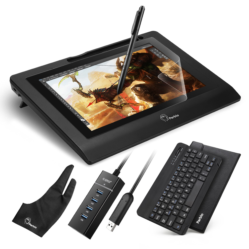 Parblo Coast10 10.1 Inches Graphic Monitor with Cordless and Battery-free Pen + Ultrathin Bluetooth Keyboard+ Graphic Monitor parblo mast10 10 1 inches graphic tablet monitor with shortcut keys and battery free pen passive stylus usb 3 1 type c cable