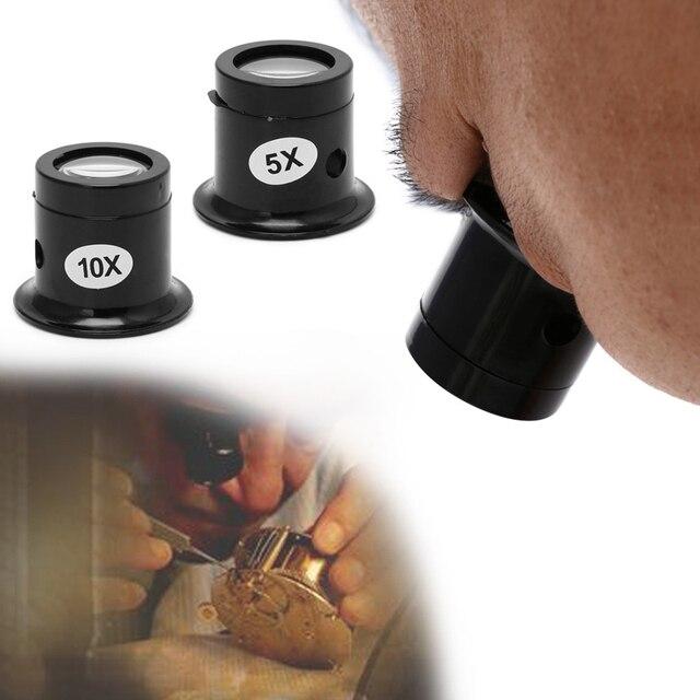 5X 10X lupa de cristal Monocular reloj de joyería herramientas de reparación lupa lente negro útil ojo óptico kit de herramientas de aumento