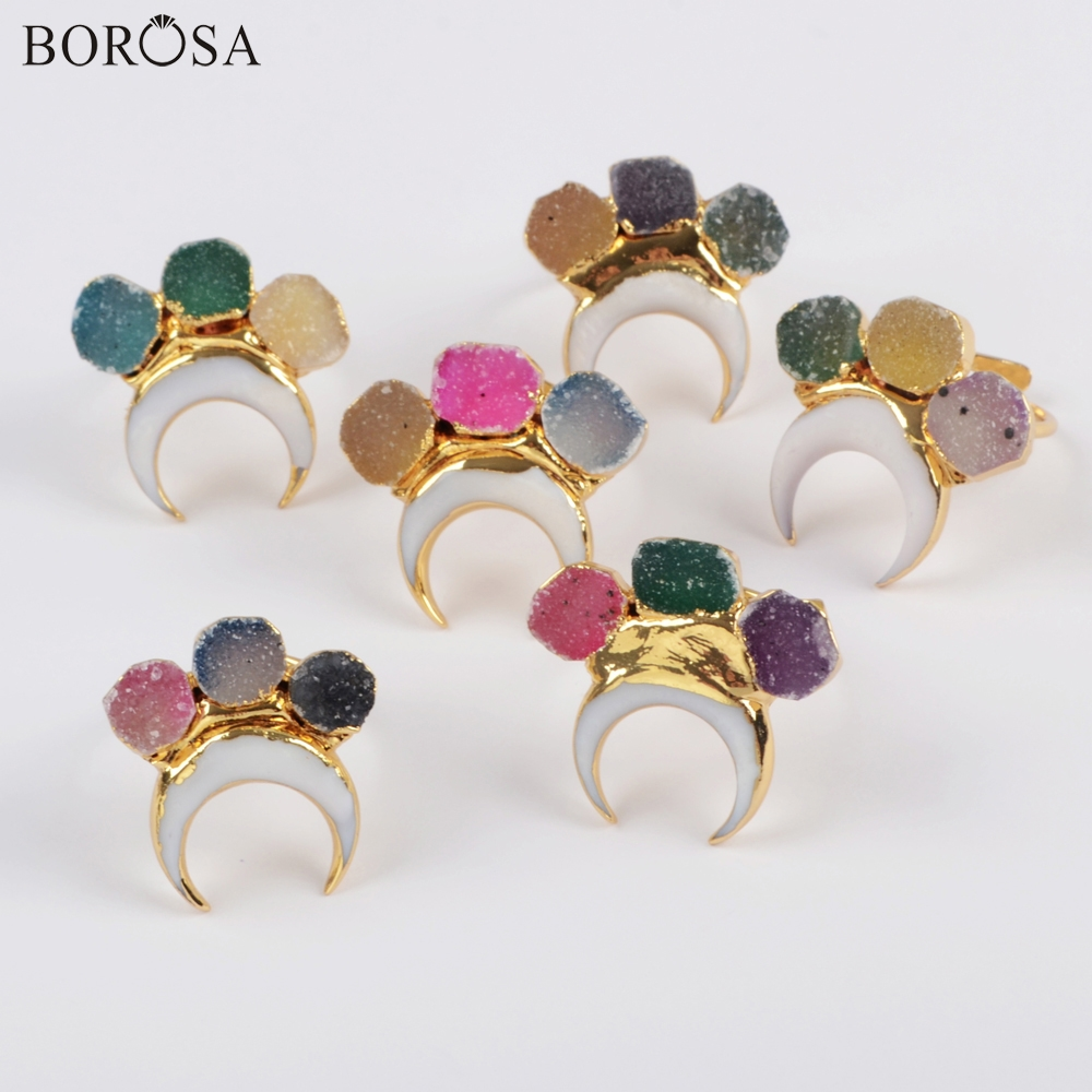 BOROSA Design 5Pcs High Quality Gild Horn Shape White Shell & Three Rainbow Agates Druzy Ring Jewelry Factory Outlet G1838