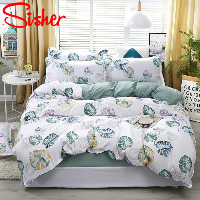 Sisher Simple Adults Bedding Sets Pastoral Leaf Duvet Cover Pillow Case Covers Single Double Queen King Size Polyester Cotton