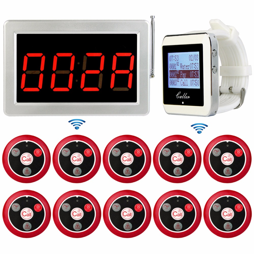 Wireless Restaurant Calling System Voice Reporting Receiver Host+Watch Receiver+10pcs Call Transmitter Button 433MHz F3285 433mhz restaurant pager wireless calling paging system watch wrist receiver host 10pcs call transmitter button pager f3255c