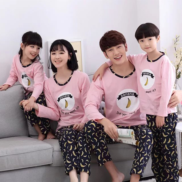 Pajamas Family Autumn Women Mens Pyjamas Cotton Pajamas Men Casual Solid Color Sleepwear Casual Men Pajama Set Plus Size XXL