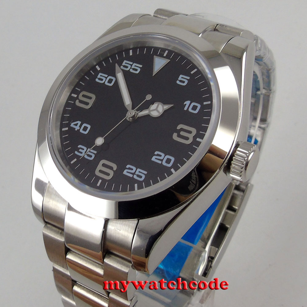 40mm parnis black dial sapphire กระจกพับอัตโนมัติ mens นาฬิกา P939-ใน นาฬิกาข้อมือกลไก จาก นาฬิกาข้อมือ บน   3