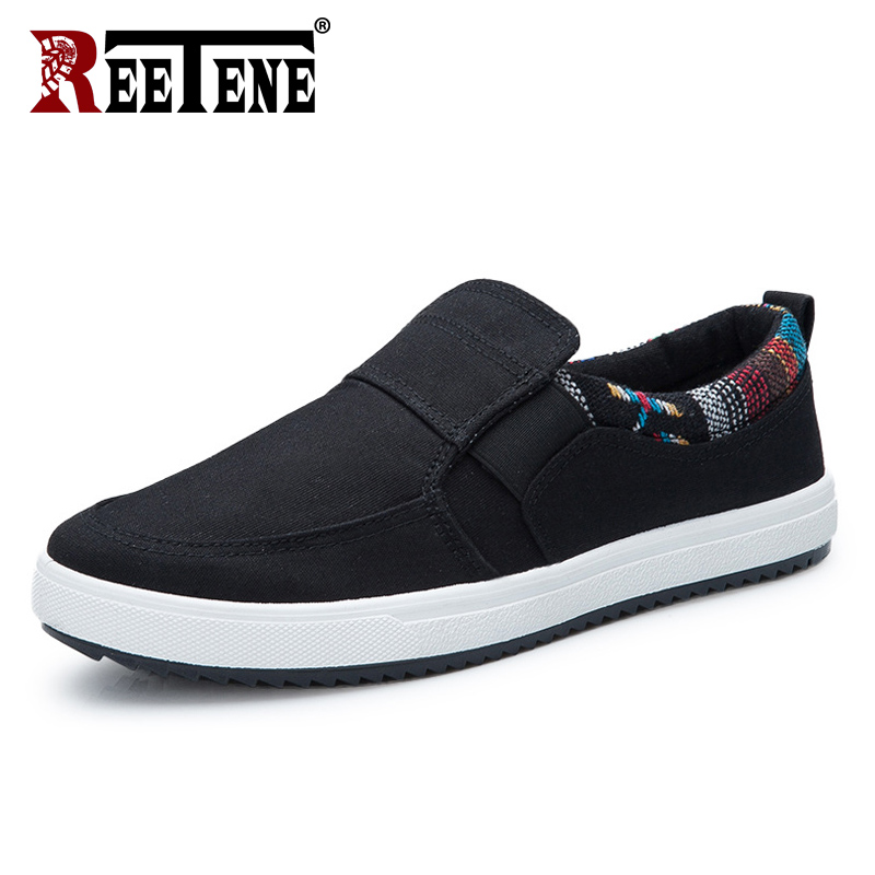 REETENE New Canvas Men Shoes Fashion Men Casual Shoes Outdoor Breathable Mens Sneakers Hot Sale Footwear For Male Driving Shoes