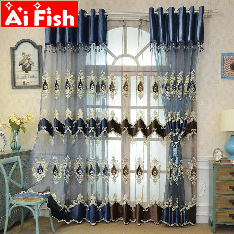 European Style Chinese Version Embroidered Luxury Curtains for Living Room Balcony Blue Coffee Sheer Tulle Curtain Decor M021-40