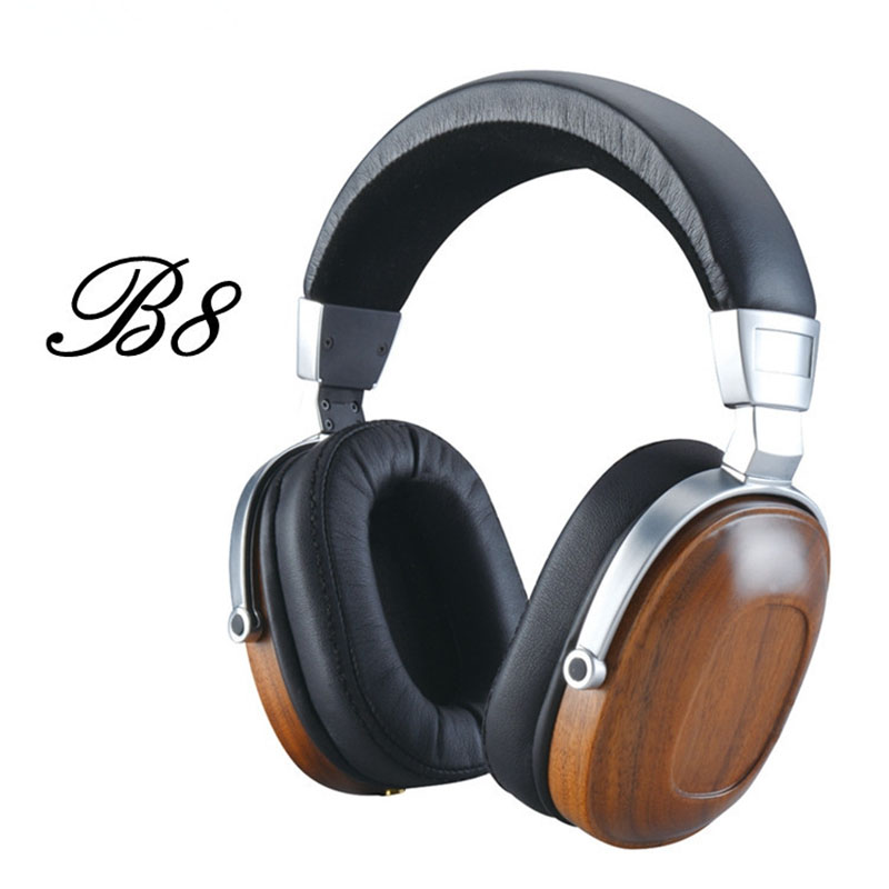 Original Blon B8 HiFi Wooden Metal Headphone Black Mahogany Headset Earphone With Beryllium Alloy Driver And protein Leather