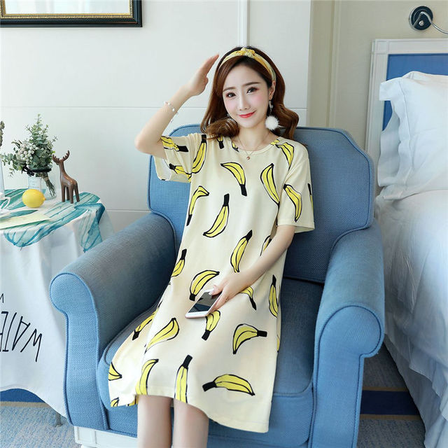 Womens nightgowns Sleepshirts 2018 Summer Home Dress Banana Cartoons  Sleepwear Loose Comfortable Nightdress Indoor Clothing daa628f9b