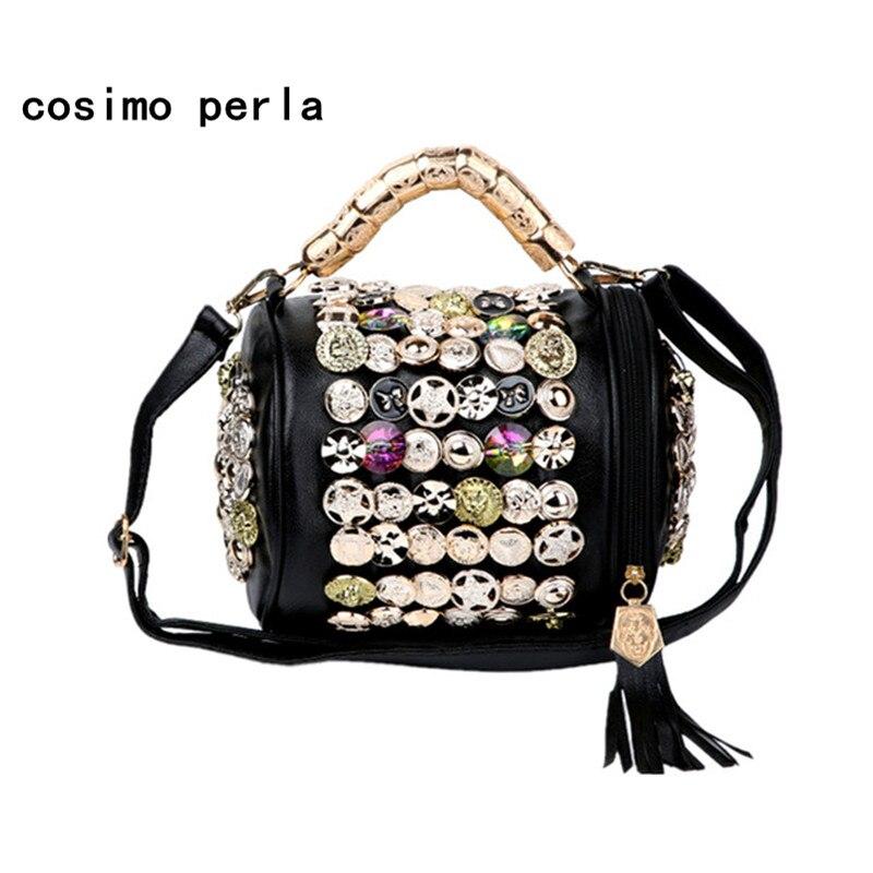 Кнопка блестки со стразами кожаная сумка мода баррель-форма сумки через плечо для Для женщин Роскошные Дизайнерские небольшая сумка Сумки