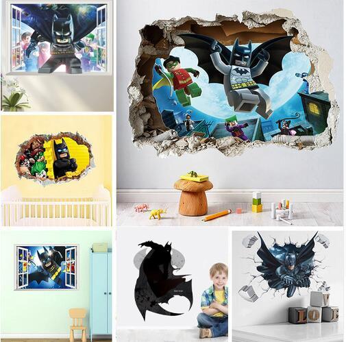 Cartoon Hero Batman 3d Vivid Wall Stickers For Kids Room Decor Home Decoration  Mural Wall Art Decals