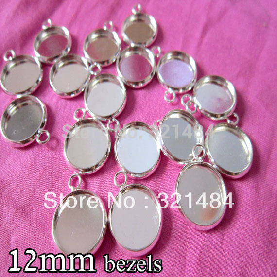Silver plated 500piece 12mm bezels round hung charm earring dangle pendant tray jewelry blanks cameo base