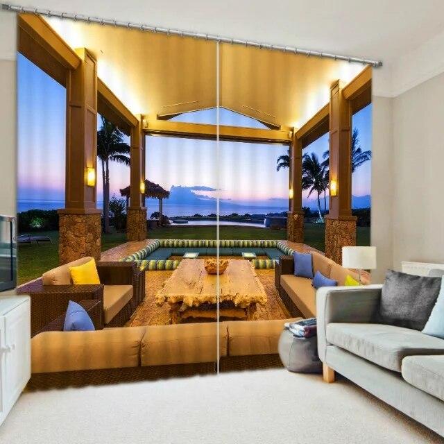 Moderne luxus büro  Malediven Strand Luxus Moderne 3D Blackout Vorhänge für Bettwäsche ...