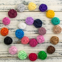 10pcs/lot 5cm 20colors Hair Clips Handmade Rolled Soft Satin Rose Flowers Artifcial Solid DIY Fabric Flowers For DIY Headband