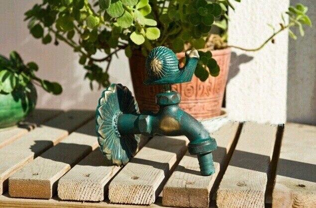 Robinets d'extérieur décoratifs muraux Bibcock de jardin animal rural avec robinet d'escargot en bronze antique