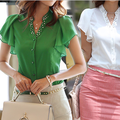 Ruffle sleeve chiffon shirt 2014 summer women's ol stand collar casual short-sleeve shirt female woman blouse girl shirts