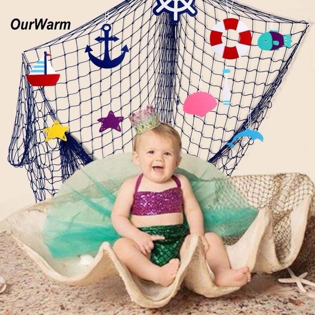 OurWarm Fish Net Party Decoration Fit Seashells Ocean Pirate Beach Theme Birthday Decorations Kids
