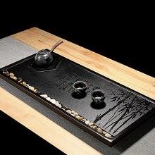 Wujinshi Tea Tray Set Home Office Black Gold Stone Simple High Grade Creative drainage KungFu table Gift preferred