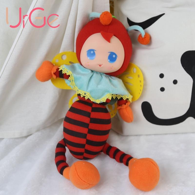 kawaii peluche animal en peluche dessin animé abeille rouge bébé apaiser poupées enfants jouets pour enfants filles poupée anniversaire de noël